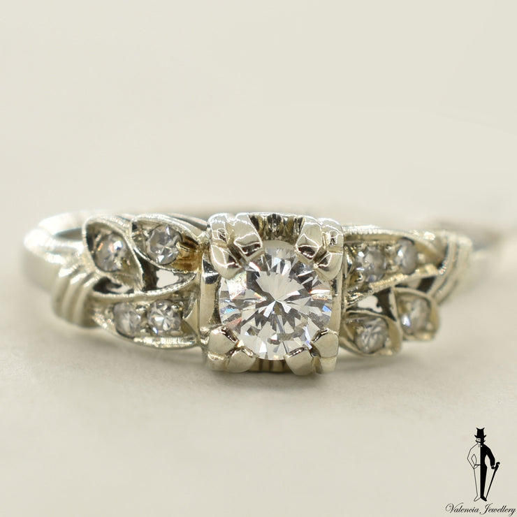 18K White Gold VS2 Diamond (0.36 CT.) Channel Setting Engagement Ring
