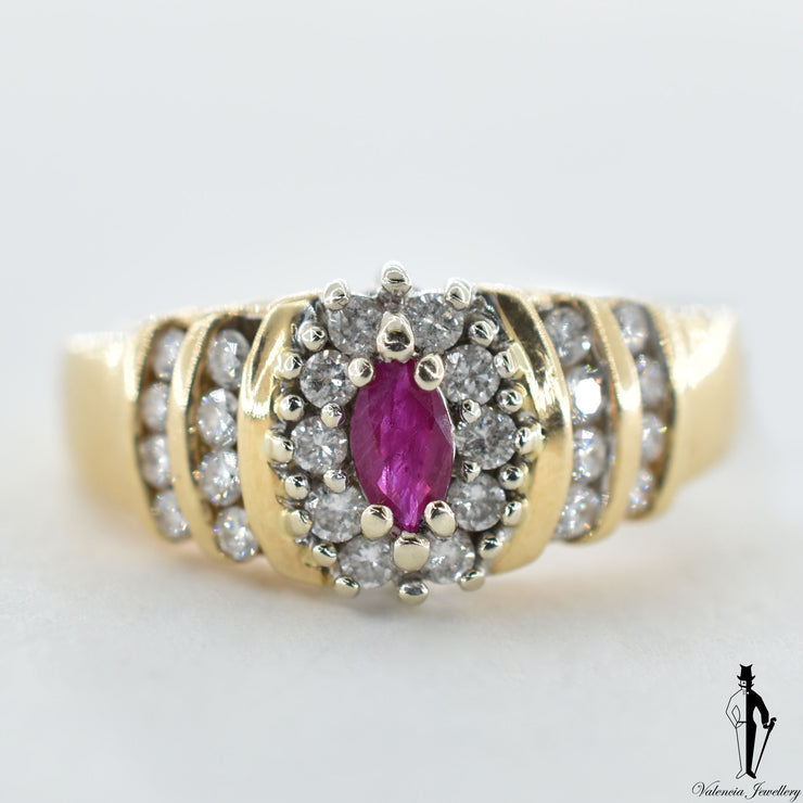 14K Yellow and White Gold Natural Ruby and Diamond (0.20 CT, 0.60 CT) Cluster Style Ring