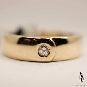 0.10 CT. (I1) Diamond Gentlemen Ring in 14K Yellow Gold