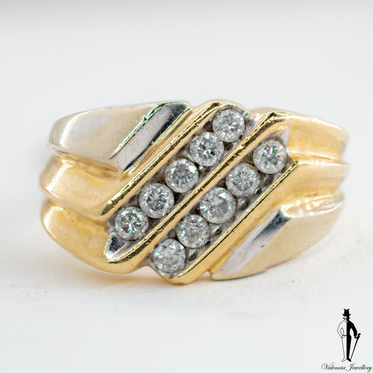 0.40 CT. (SI2-I1) Diamond Gentlemen Ring in 10K Yellow and White Gold