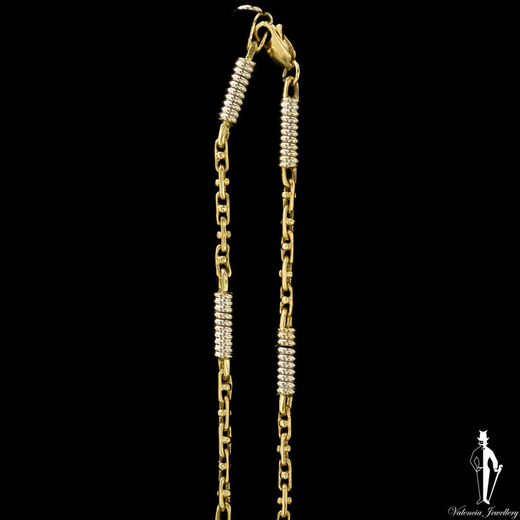 21 Inch 14K Yellow and White Gold Custom Fancy Link Chain