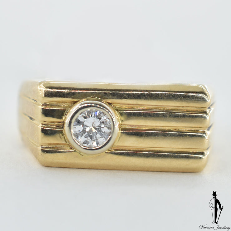14K Yellow and White Gold Diamond (0.22 CT.) Bezel Set Custom Ring