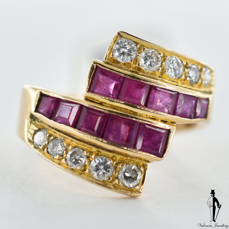 18K Yellow Gold Natural Ruby and Diamond (1.0 CT, 0.35 CT.) Swirl Style Hand Fashioned Channel and Bead Set Ring