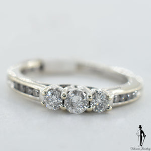 14K White Gold I1 Diamond (0.46 CT.) Three Stone Engagement Ring