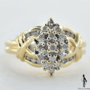 10K Yellow and White Gold I2 Diamond (0.20 CT.) Cluster Style Ring