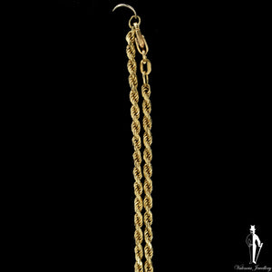 16 Inch 14K Yellow Gold Diamond Cut Rope Link Chain