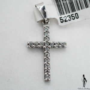 0.40 CT. (SI1-SI2) Diamond Cross Pendant in 10K White Gold