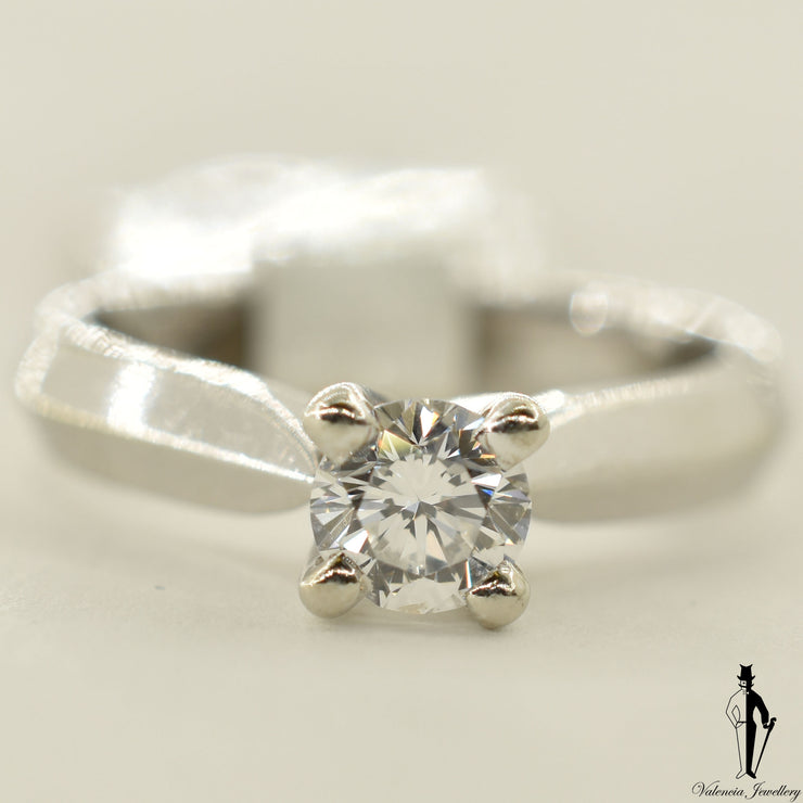 14K White Gold SI Diamond (0.54 CT.) Solitaire Engagement Ring