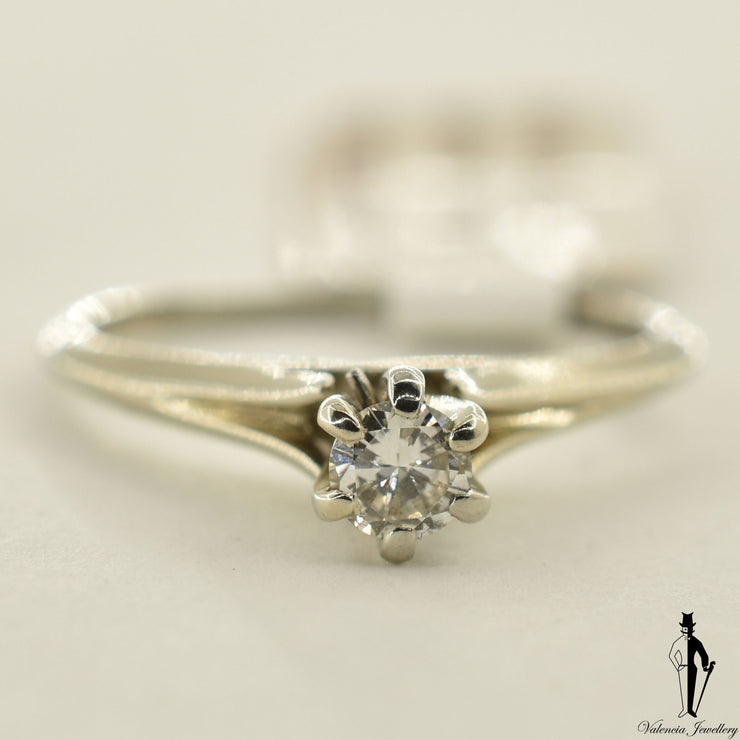 18K White Gold SI2 Diamond (0.25 CT.) Solitaire Engagement Ring