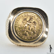 14K and 18K Yellow Gold Mexican Coin Custom Ring