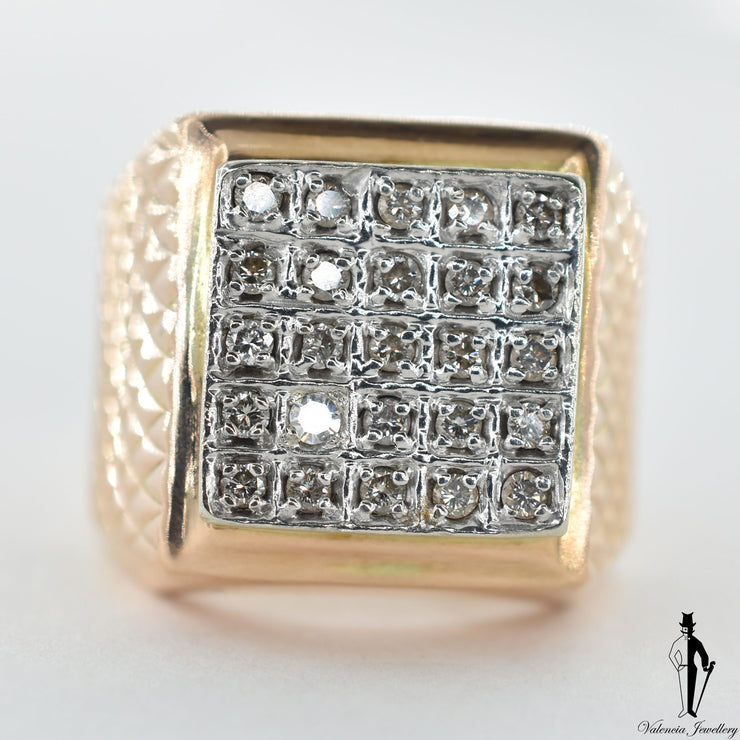 14K Rose and White Gold Diamond (0.35 CT.) Square Shape Ring