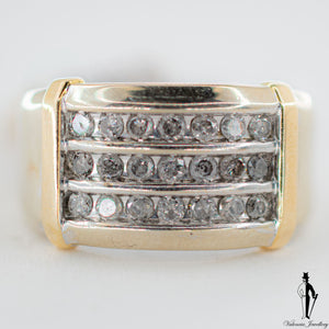 0.66 CT (I2) Diamond Gentlemen Ring in 10K Yellow and White Gold