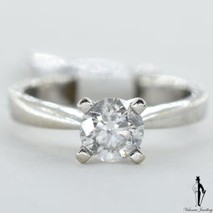 14K White Gold I1 Diamond (0.65 CT.) Solitaire Engagement Ring