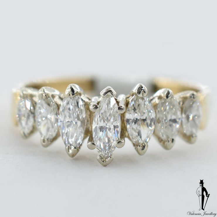 14K Yellow and White Gold SI2 Diamond (1.30 CT.) Seven Stone Diamond Ring