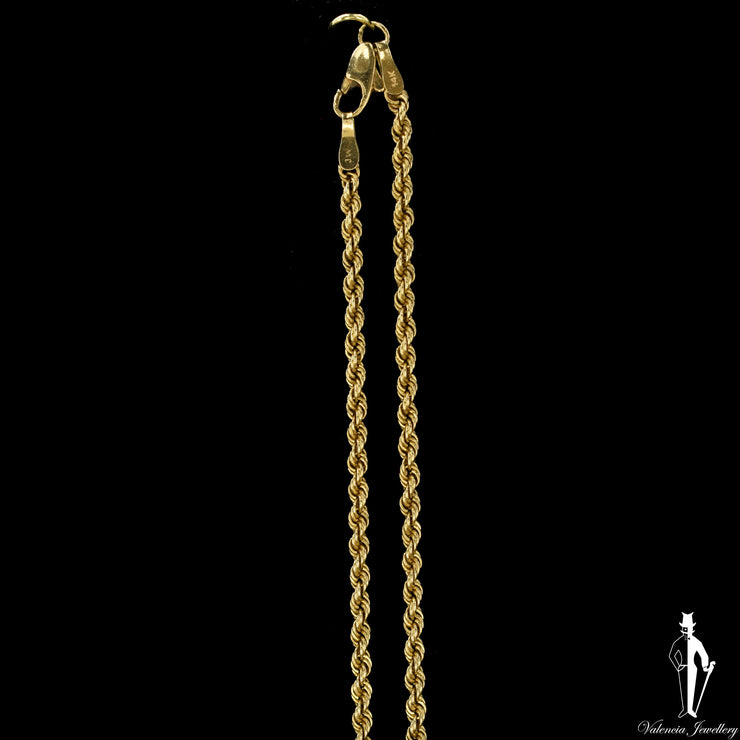 19 Inch 14K Yellow Gold Rope Link Chain