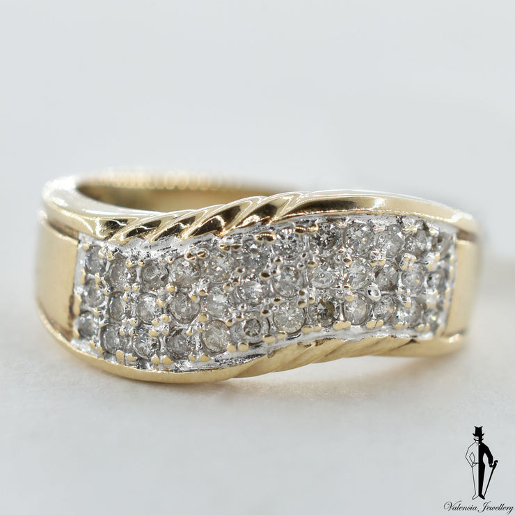 10K Yellow Gold SI2-I1 Diamond (0.70 CT.) Swirl Style Band