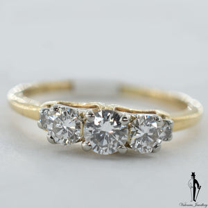 14K Yellow and White Gold SI1 Diamond (0.45 CT.) Three Stone Engagement Ring