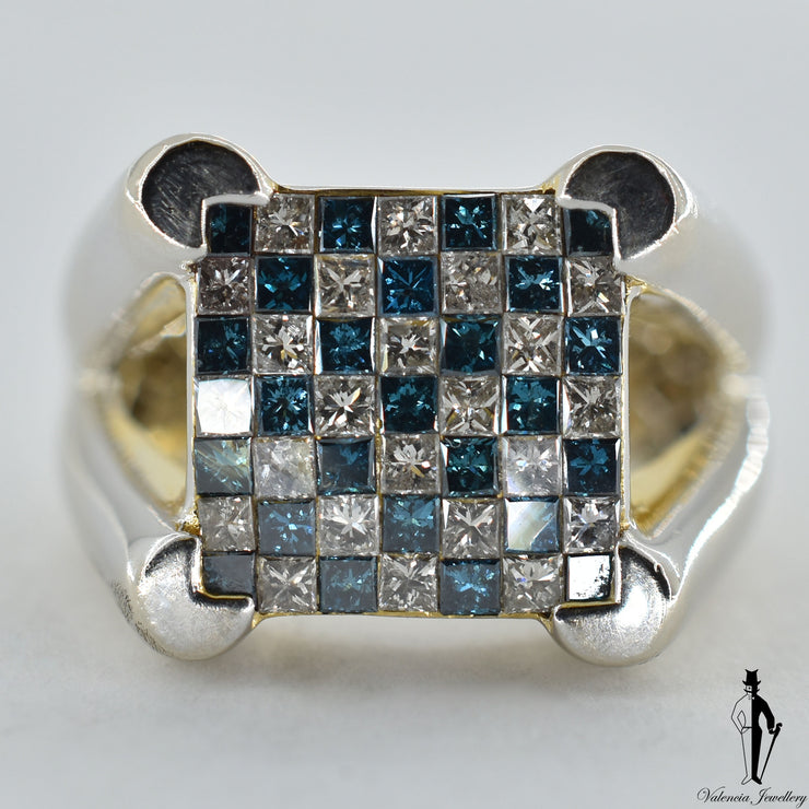 14K White Gold SI1-2 Blue and Regular Diamond (0.75 CT.) Checkerboard Style Invisible Set Hand Fashioned Ring