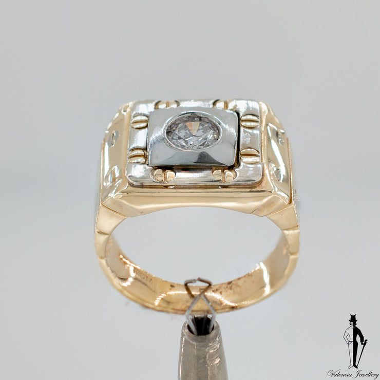 0.46 CT. (I1) Mens Diamond Ring in Two Tone 14K Gold