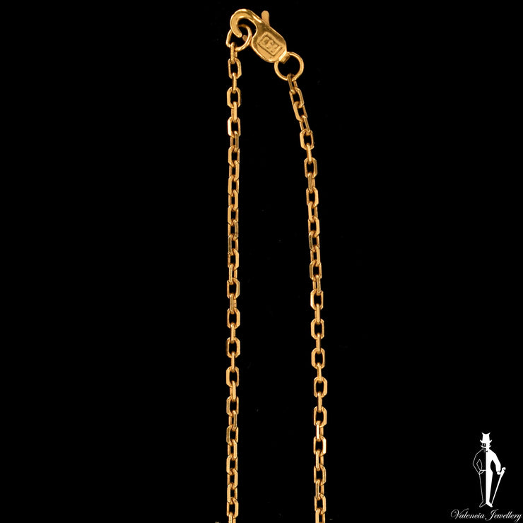 24 Inch 18K Yellow Gold Cable Link Chain