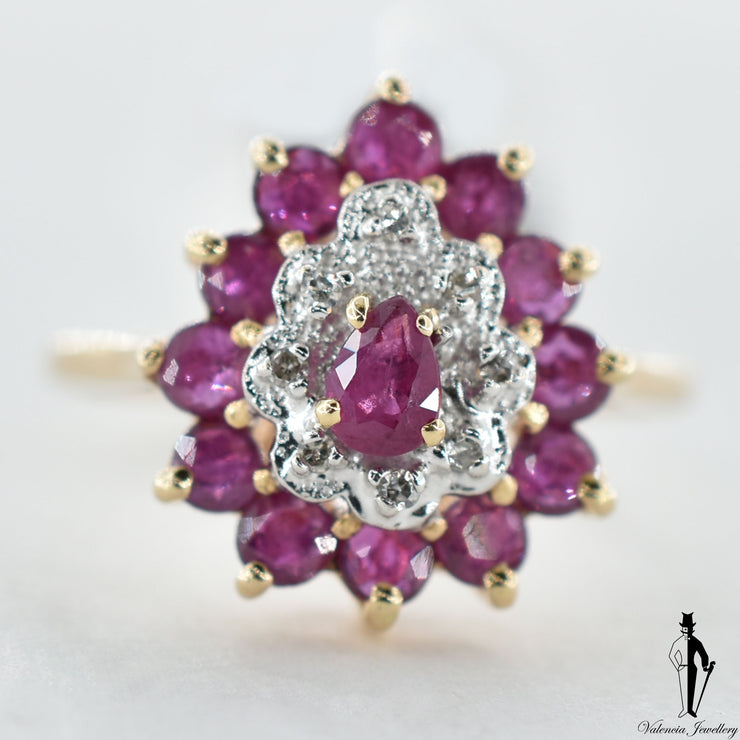10K Yellow and White Gold Natural Ruby and Diamond (0.65 CT, 0.05 CT.) Cluster Style Ring