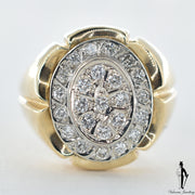 10K Yellow and White Gold Diamond (0.38 CT.) Oval Shaped Bead Set Ring