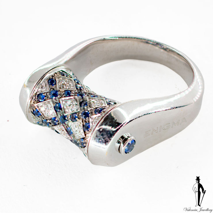 0.22 CT. (VVS) Diamond and Sapphire Corset Ladies Ring in 18K White Gold
