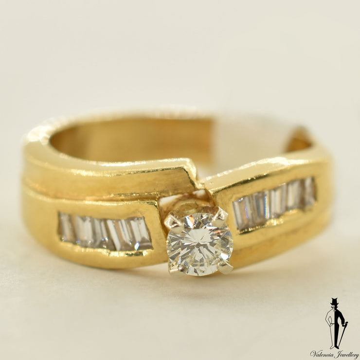 18K Yellow Gold VS Diamond (0.22 CT.) Channel Setting Engagement Ring