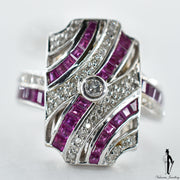 18K White Gold Natural Ruby and Diamond (1.0 CT, 0.30 CT.) Victorian Style Ring