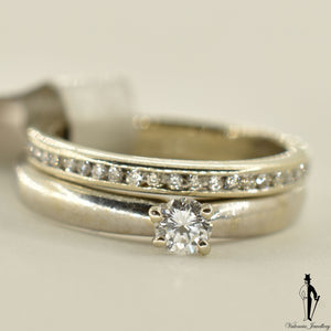 14K White Gold SI1 Diamond (0.15 CT.) Solitaire Engagement Ring and Band