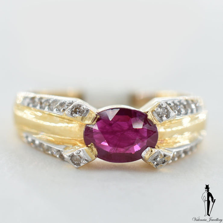 14K Yellow Gold Natural Ruby and Diamond (1.0 CT, 0.19 CT.) Ring