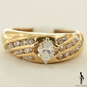 14K Yellow Gold SI1 Diamond (0.38 CT.) Channel Setting Engagement Ring