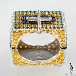 1.36 CT. (VVS) Diamond, Sapphire and Tsavorite Box Ring in 18K White Gold