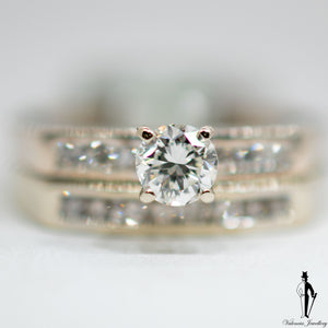 0.42 CT. (VS-SI) Diamond Band and Ring Set in 14K White Gold