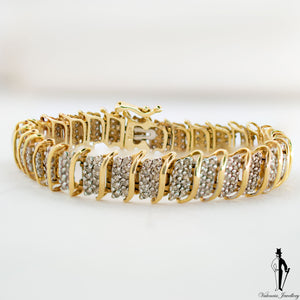 1.80 CT. (I1-I2) Diamond Ladies Bracelet in 10K Yellow and White Gold
