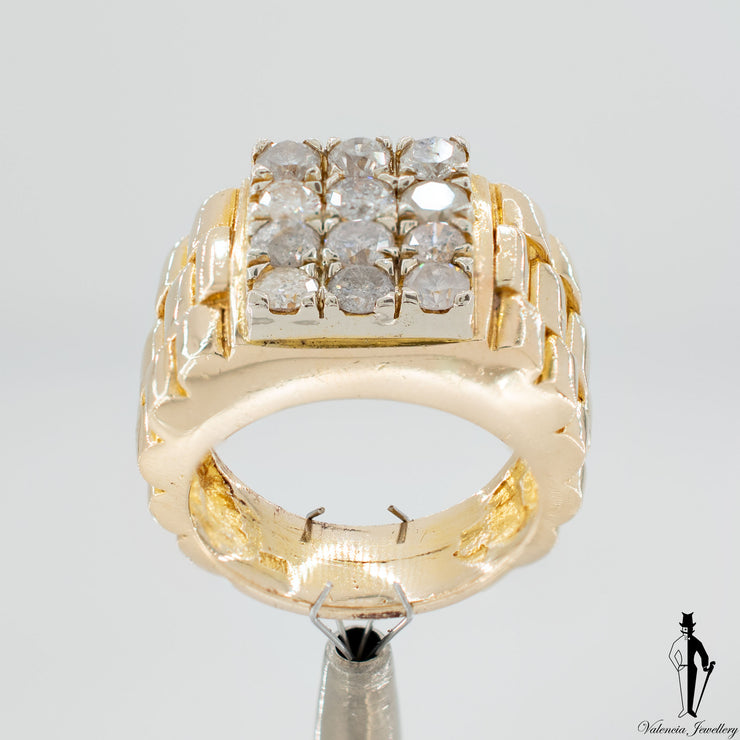 2.17 CT. (I2-3) Diamond Gentlemen Ring in 14K Yellow Gold