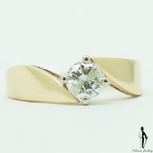 0.58 CT. (I2) Diamond Solitaire Ring in 14K Yellow and White Gold