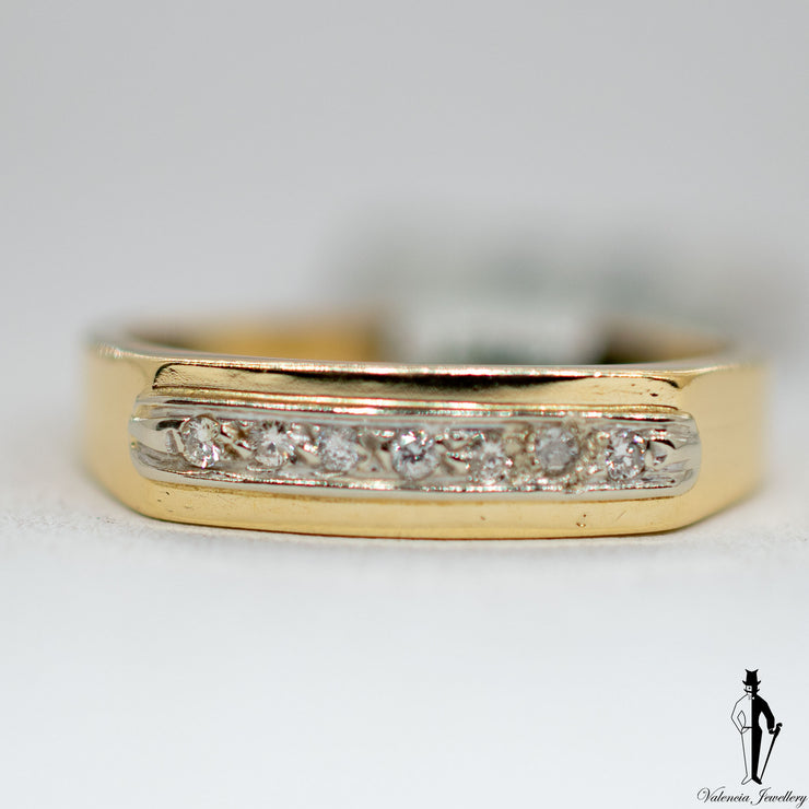 0.10 CT. (SI2-I1) Diamond Ring in 14K Yellow and White Gold