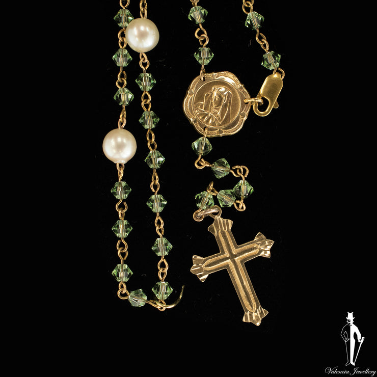 17 Inch 10K Yellow Gold Rosary With Green Beads
