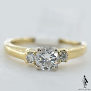 14K Yellow Gold SI2 Diamond (0.60 CT.) Three Stone Engagement Ring