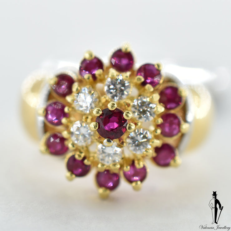 18K Yellow and White Gold Natural Ruby and Diamond (0.70 CT, 0.40 CT.) Cluster Style Ring