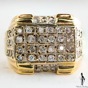 0.70 CT. (SI2-I1) Diamond Gentlemen Ring in 10K Yellow and White Gold