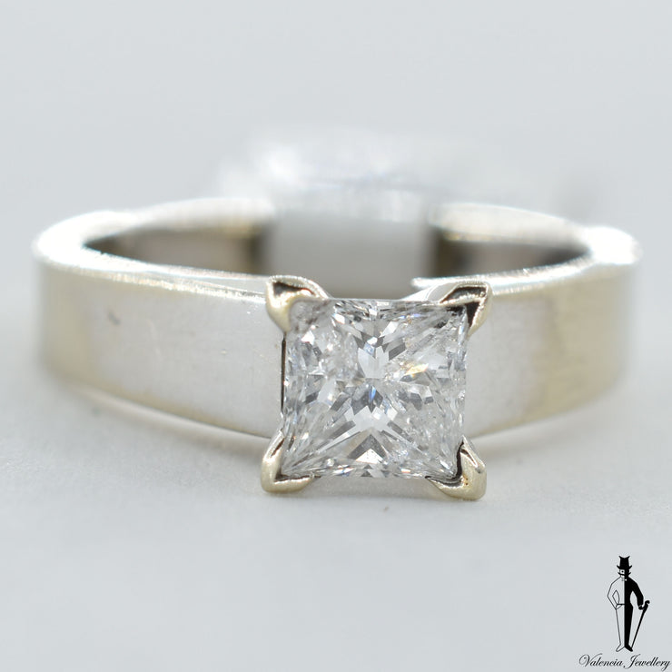 14K White Gold I1 Diamond (0.91 CT.) Solitaire Engagement Ring