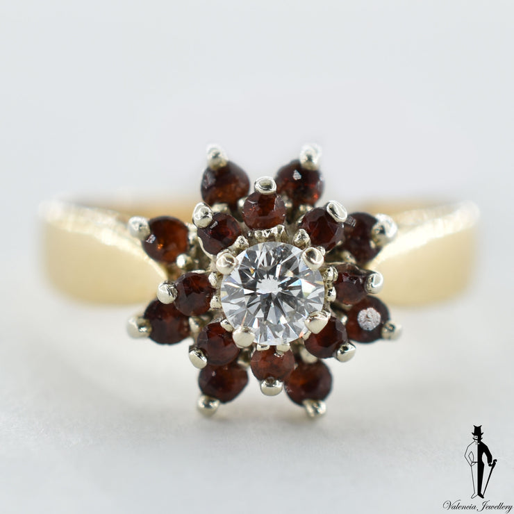 14K Yellow and White Gold Natural Almandite and Diamond (0.48 CT, 0.25 CT.) Cluster Style Ring