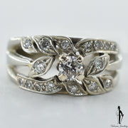 14K White Gold I1-VS Diamond (0.35 CT.) Leaf Style Diamond Ring