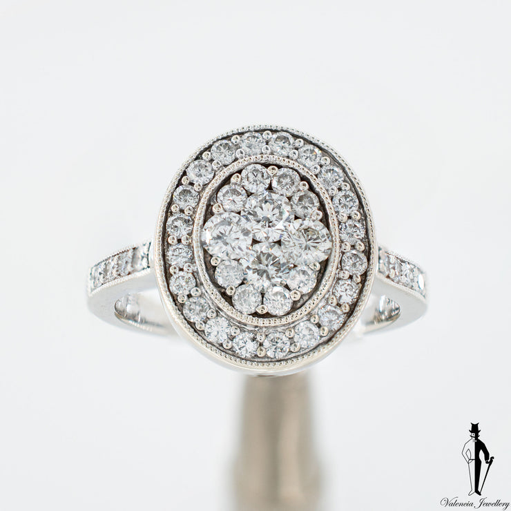 1.0 CT. (SI-I) Diamond Ladies Oval Ring in 14K White Gold