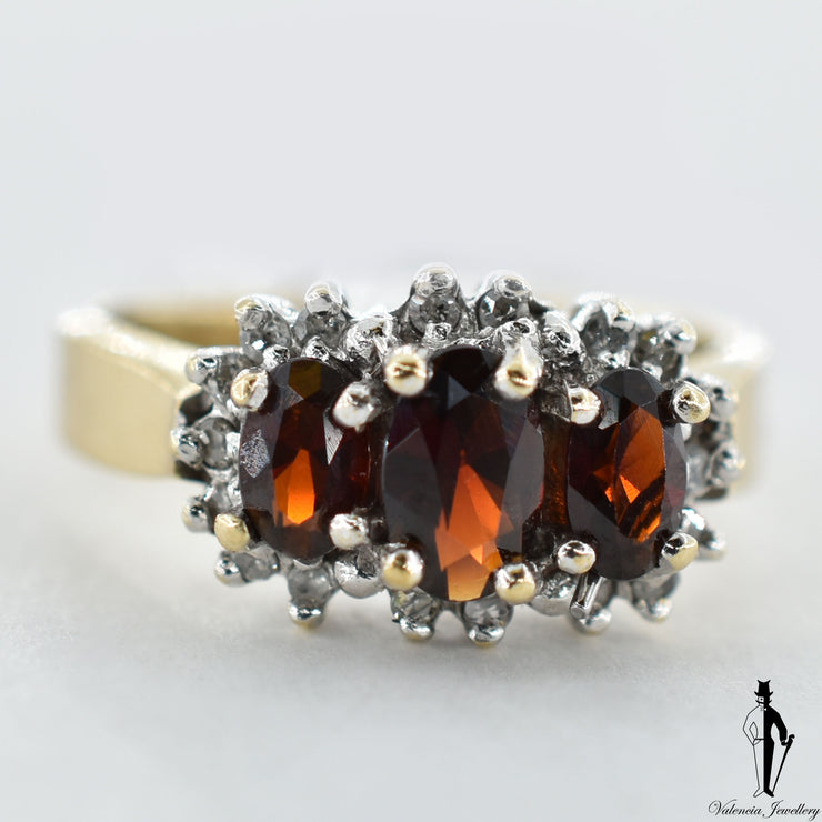 10K Yellow and White Gold Natural Garnet and Diamond (0.90 CT, 0.12 CT.) Cluster Style Ring