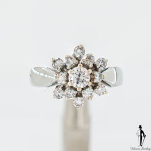 0.75 CT. (VVS-VS) Ladies Cluster Style Ring in 18K White Gold