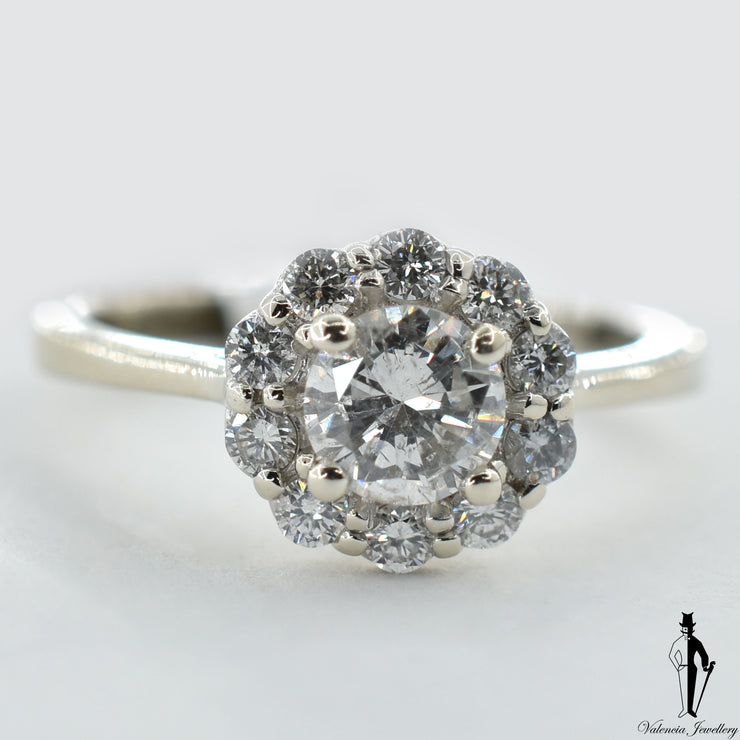 14K White Gold I1 Diamond (0.65 CT.) Halo Style Engagement Ring