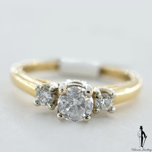 18K Yellow and White Gold SI1-2 Diamond (0.73 CT.) Three Stone Engagement Ring
